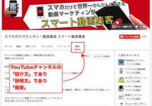 youtubeチャンネル,概要,説明文,紹介文