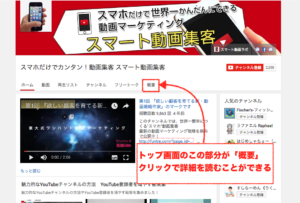 youtubeチャンネル,概要,説明文